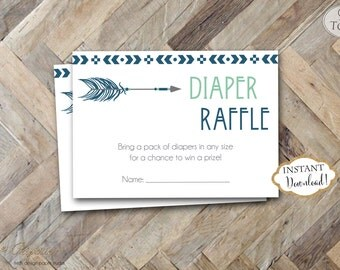 INSTANT DOWNLOAD - Diaper Raffle Card Aztec Tribal Feather Arrow Navy Mint - Pow Wow Diaper Raffle - Diaper Raffle Insert - 0339