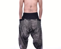 Thai Traditional Pattern Printed Samurai Pants, Trousers, Baggy pants, Yoga pants, 100% Cotton(Unisex) One Size Fit All...New