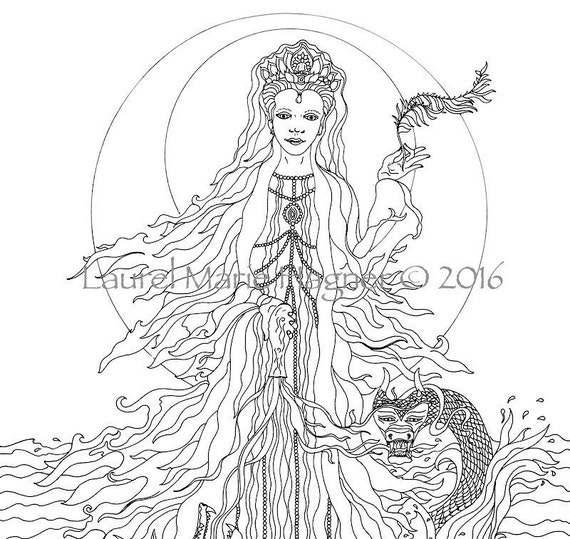 Items similar to kuan yin black white fine art print for Fine art coloring pages