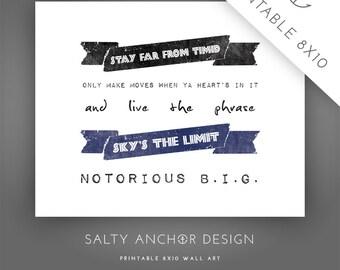 8x10 Word Art - Notorious B.I.G. - Sky's The Limit / Blue - Printable PDF