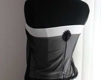 Delicate,  Double Layer,  Flower Applique Decoration, Sleeveless Tube Top.