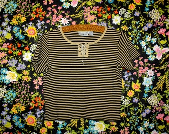 Vintage 90s Striped T Shirt * Tie Up * Navy / Beige * Small / Medium * Minimal * Boxy