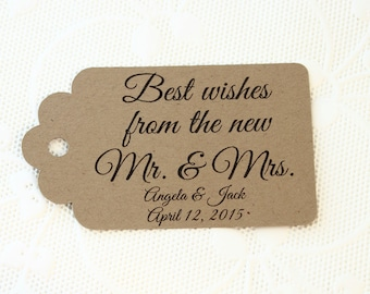 Best Wishes Wedding Tags, Custom Wedding Tags, Wedding Favor Tags, Thank You Tags, Personalized Tags, Wedding Gift Tag, Custom Printed Tag