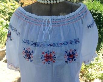 Vintage Peasant Blouse /  Greek Key Peasant Blouse  / Hippie Boho Blouse / Vintage Blouse