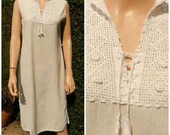 Vintage 1970's festival hippie gauze cheesecloth cotton dress UK12 M