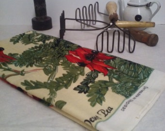 Stuart's Desert Pea.  Vintage Linen Tea Towel.  Made in Australia