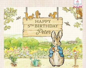 Peter Rabbit Backdrop Banner - Printable Backdrop Banner