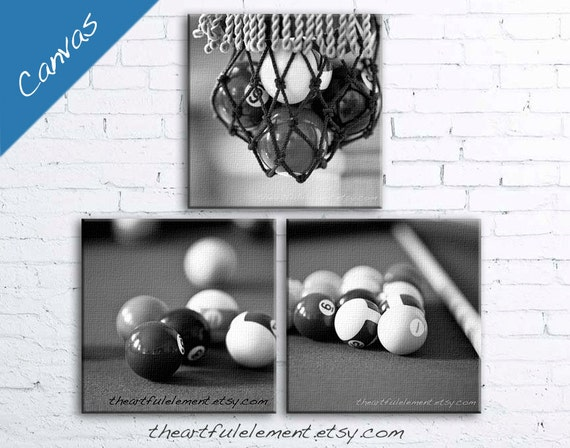 Billiards decor canvas, Pool table decor, Pool room decor, Black and white art, Set of 3, Fathers day gift, Game room / Billiards Canvas Set