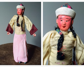 Antique Chinese Doll 1920's 1930's Collectible Souvenir Hand Painted Braids Vintage RARE Asian Composition Dolls Silk Clothing China Doll