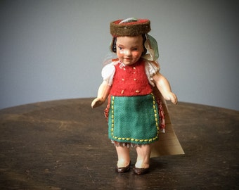 Antique Romanian Bisque Doll Costume Made in Germany Clothing 1930's Vintage Dress Skirt Apron Hat Folk Dollhouse Miniature Composition RARE