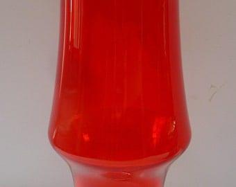 Vintage 1960s Riihimaki / Riihimäen Lasi Oy Scarlet Red glass vase by Tamara Aladin