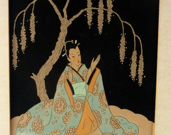 Genuine 1930s ART DECO Watercolour. Japanese Lady in a Garden, Drinking Tea. Signed and Dated 1933
