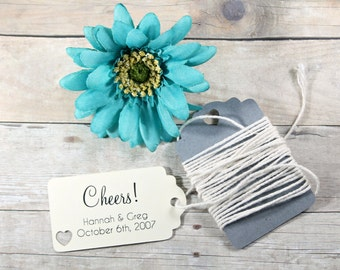 Cheers Wedding Favor Tags Set of 20 - Cream Personalized Bridal Shower Tags - Ivory Wedding Tag - Wedding Party Tag - Ivory Shower Tags