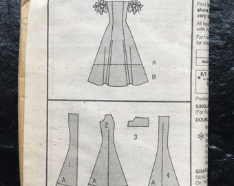 Vintage Unused Formal Dress Pattern // Butterick 6154, Sizes 6-8-10, off the shoulder, long or short, puffy sleeves, prom, evening