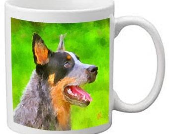 Australian Cattle Dog - Blue Heeler 'Percy' - Ceramic Coffee Mugs by DoggyLips - 2 sizes