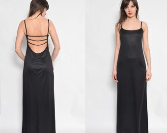Vintage 90's Backless Black Maxi Dress / Sleeveless Maxi Dress / Strappy Sparkling Dress - Size Small