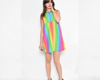 Vintage 90's Rainbow Fleece Mini Dress / Sleeveless Fleece Dress