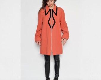 Vintage 80's Colar Zipper Coat / Winter Coat