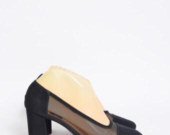 Vintage 90's Black Mesh Chunky Heels Shoes