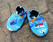 Beach Baby Water Shoes, Blue Ocean Nautical Swim Moccs, Toddler shoe,  Crab Whale Shoes, Gender Neutral, Swimming Moccasins, Pool Shoes