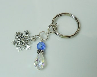 Zipper Pull Key Ring with Holiday Charm - Snowflake