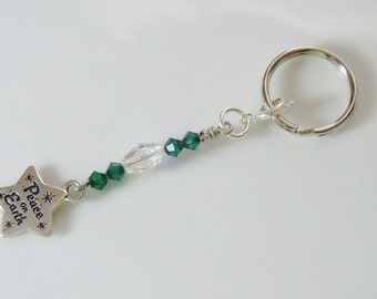 Zipper Pull Key Ring with Holiday Charm - Peace on Earth
