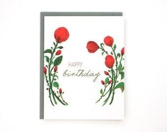 Happy Birthday- greeting card - English roses wreath / BIR-ROSES