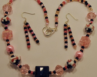 Pink & Black necklace and earring set