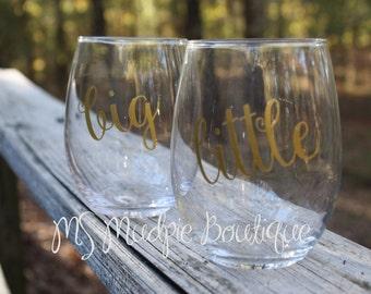 Big Little Wine Glass Set, Sorority Wine Glass Set, Big Lil Sorority Set of 2 Wine Glasses
