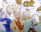 45 Rabbit Stickers in Box - Bunny Envelope Seals in Round, Octogon and Square Shapes