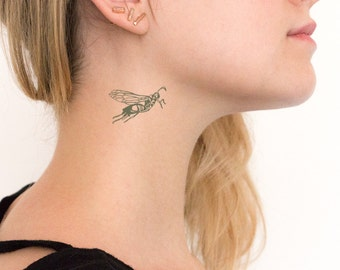 Hornet Temp Tattoo Bug Realistic Goth Neck Tat Wasp Insect
