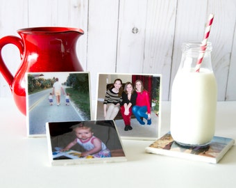 Personalized coasters, photo coasters, custom coasters, gift for mom, anniversary gift, birthday gift, resin coasters, family photo coasters