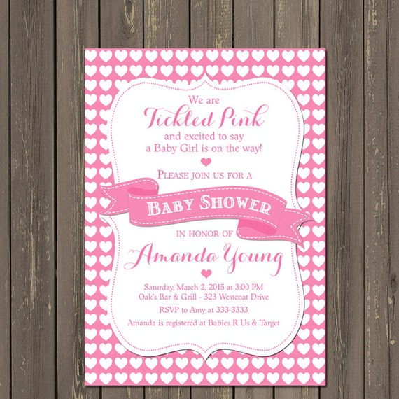 Tickled Pink Baby Shower Invitation Hearts Baby Shower Invitation