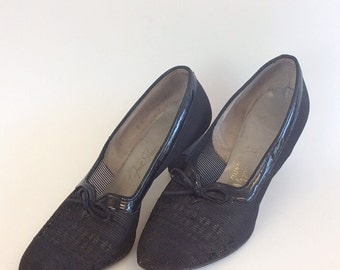 50s Frederick and Nelson Netted Sheer Pumps / 1950s Vintage Patent Leather Sheer High Heels / Size 7