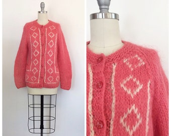 60s Pink Wool & Mohair Cardigan / 1960s Vintage Diamond Patterned Button Up Sweater / Medium / Size 6