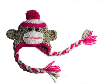 Baby Hat, Newborn Photgraphy Prop, Newborn Girl hat, Girls Sock Monkey Hat, Pink Sock Monkey, Toddler Girls, Hospital Hat, Knit Sock Monkey
