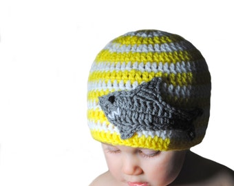 Nautical Crochet Shark Hat, Crochet Baby Hat, Boys Striped Hat, Toddler Hat, Yellow White, Newborn Photography Prop, Knit Baby Hat Boys Knit