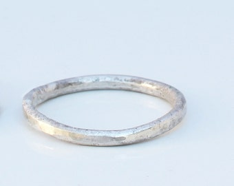 Organic fine silver band ring. Textured. Artisan forged.