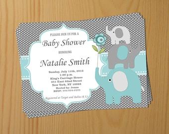 Boy Baby Shower Invitation Elephant Baby Shower Invitation Baby Boy Shower Invitation Baby Shower Invite (57taf) - Free Thank You Card