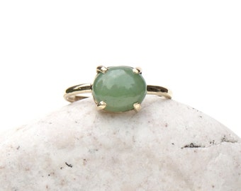 ready to ship, jade ring, jade jewelry, jade and gold ring, solid gold ring