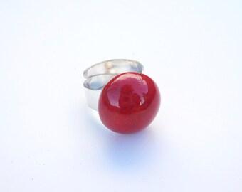Red ring ceramic handmade hemisphere
