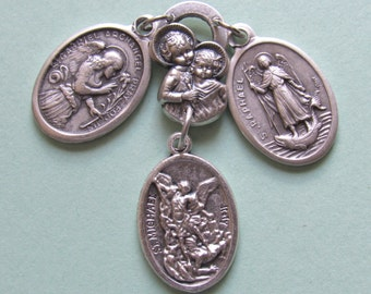 Archangel Talisman *medal,St Michael,St Gabriel,St Raphael,cherub,prayer,good luck,military,police,EMT,postal workers,nurses,doctors
