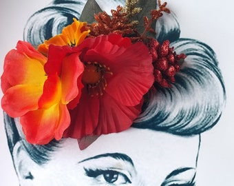 Fall Forest Pin Up Hair Flower Vintage Autumn
