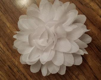 Chiffon White Flower - Alligator Clip attached