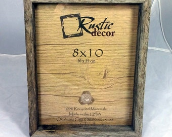 "8x10 - 1"" Wide Rustic Barn Wood Deep Inset Photo Frame"