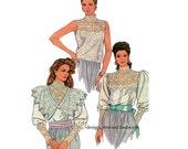 LACE BLOUSE PATTERN Steampunk Victorian Blouse Designer Jessica McClintock Simplicity 9025 Womens Sewing Patterns Size 10 Bust 32.5 UNCuT