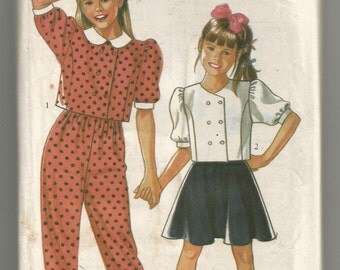 UNCUT 6148 New Look Sewing Pattern Girls Top Skirt Pants Size 4 5 6 7 8 9 10 11 12 Vintage 1980s