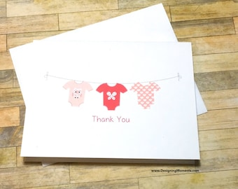 Baby Thank You Card Set - Baby Shower Bodysuit Clothesline Thank You Cards - Girls Baby Stationery Thank You - Baby Clothesline Cards