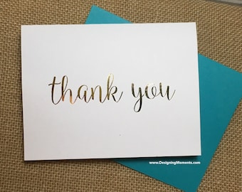 Gold Foil Thank You Cards - Wedding Thank You Cards - Gold Foil Stationery - Calligraphy Stationary - Wedding Thank You Cards DM132
