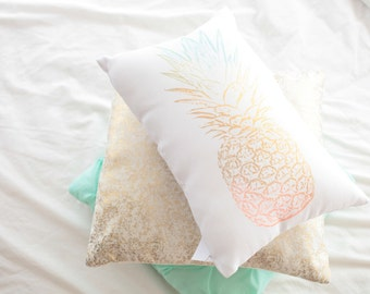 Linen or Cotton Ombre  Pineapple Pillow